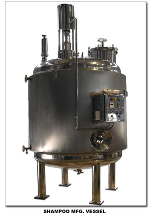 Shampoo manufacturing vessel